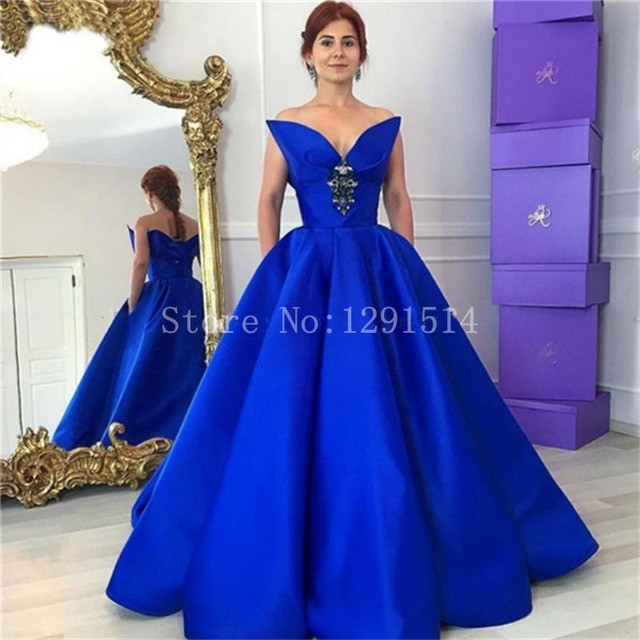 Royal Blue Prom Dresses Long 2017 New Design Simple Sexy V Neck