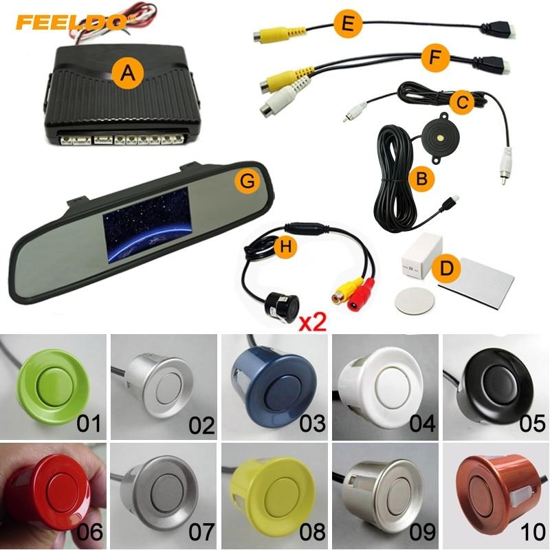 FEELDO 1Set Car 4.3 Rearview Mirror Monitor 6-Sensor Parking Sensor 2pcs CCD Camera Dual Video Rearview Parking System #FD-1977
