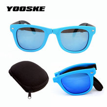 9a0c18392f YOOSKE hombres mujeres plegable gafas de sol con la caja original plegable  con El caso marca diseñador Mirrored gafas de sol dob.