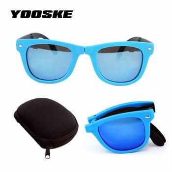 fbb4e0ed4b YOOSKE hombres mujeres plegable gafas de sol con la caja original plegable  con El caso marca diseñador Mirrored gafas de sol doblado
