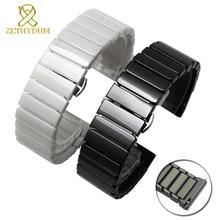 세라믹 시계 스트랩 16mm 팔찌 시계 밴드 20mm 22mm 퀵 릴리스 바 손목 시계 밴드 18mm 화이트 블랙 시계 벨트 페이드 아니