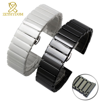Ceramic watch strap 16mm bracelet watchband 20mm 22mm quick release bar wristwatches band 18mm white black watch belt not fade stainless steel watch band 20mm 22mm universal watchband butterfly buckle strap quick release loop belt bracelet black silver