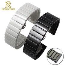 Đồng hồ gốm dây đeo 16mm vòng tay watchband 20mm 22mm phát hành nhanh chóng thanh đồng hồ đeo tay ban nhạc 18mm trắng đen đồng hồ vành đai không phai