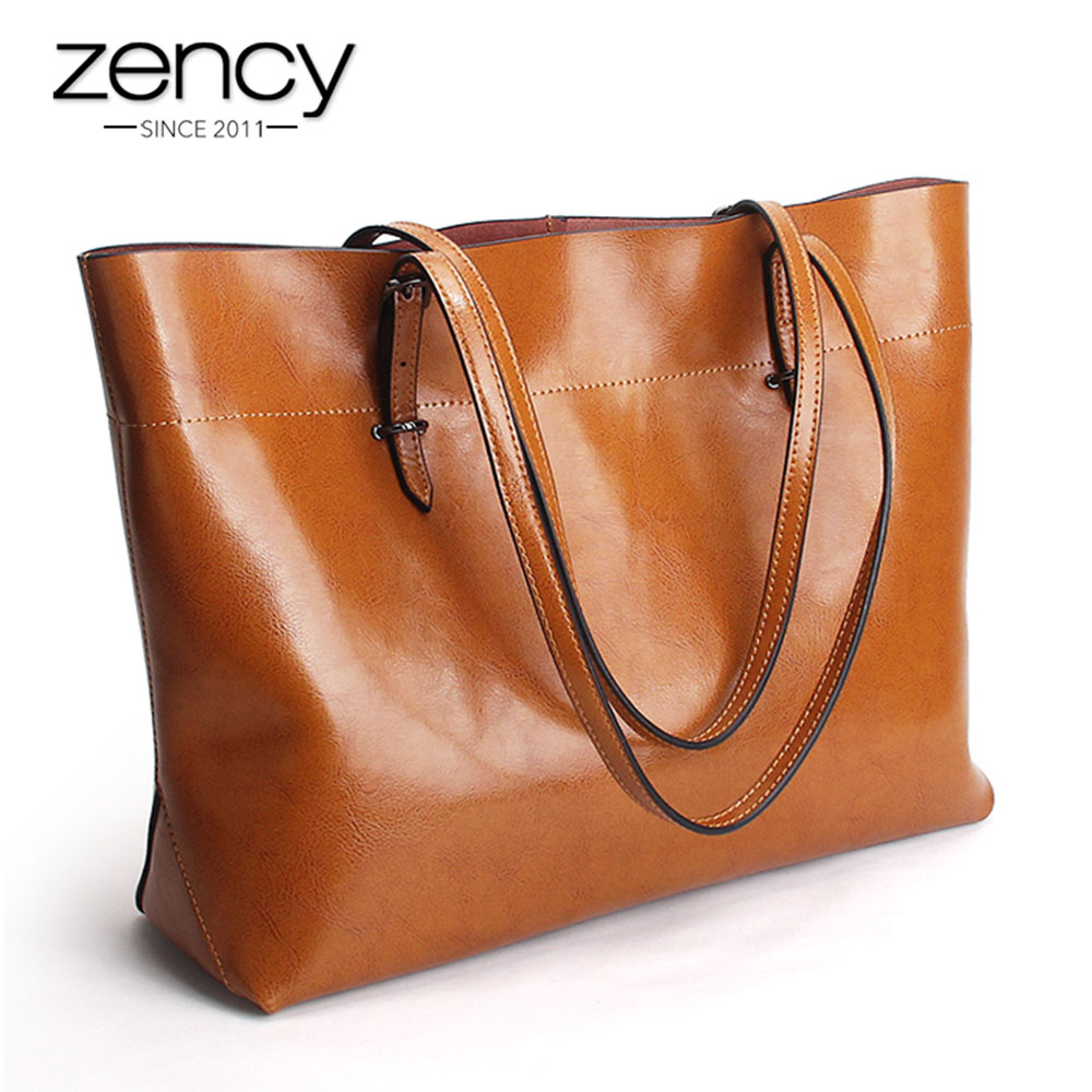 2019 New Style Brown Women Handbag 100 Genuine Leather Female Shoulder Purse Ladies Black Tote Bag