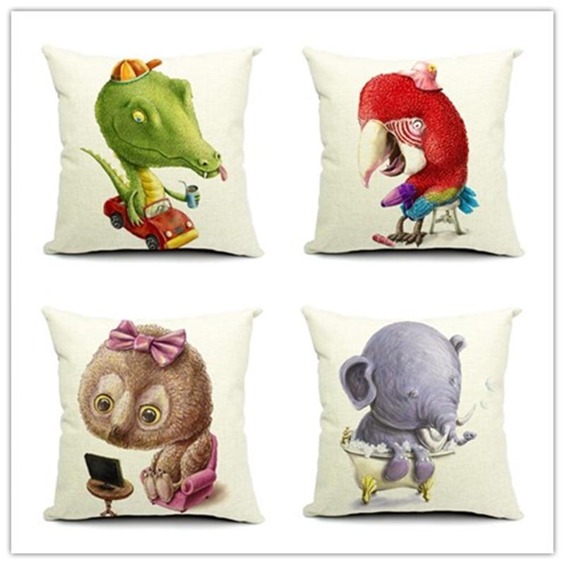 popular cartoon animal style lovely pattern printed pillow bed sofa home decorative throw pillow fundas para - Popular Throw Pillows