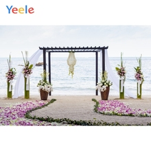 Yeele Vinyl Romantic Wedding Ceremony Seaside Flowers Photography Backdrops Love  Photographic Backgrounds For Photo Studio