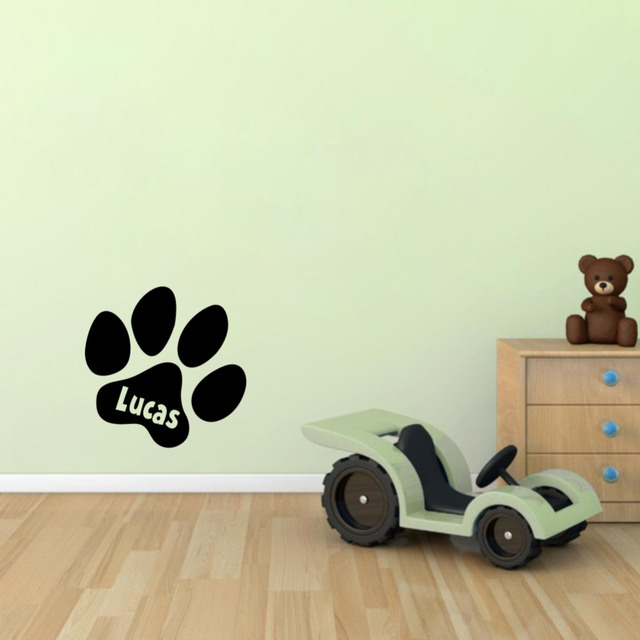 Creative Custom Pet Name With Cute Paws Personalized Wall Stickers Vinyl  Art Decor Decals