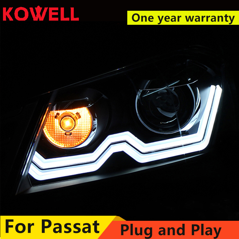 KOWELL Estilo Do Carro Para VW Passat Magotan 2012 2016 LED faróis DRL frente Lente Bi Xenon Duplo Feixe KIT HID