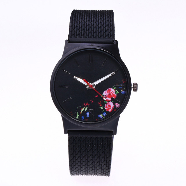 Silicone Strap Printing Floral Ladies Watch