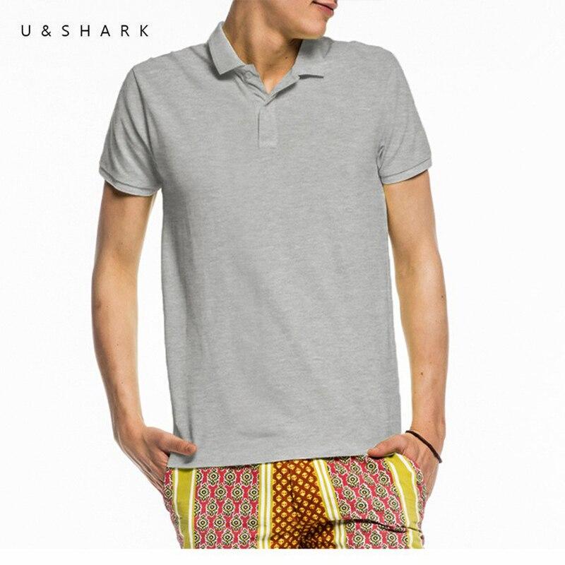 U shark classic grey short sleeve horse polo shirt slim for 100 cotton dress shirt