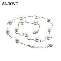 BUDONG 925 Collar de Plata de ley para Las Mujeres Perlas de Agua Dulce Naturales Collar Largo de La Manera de La Cadena Fine Jewelry