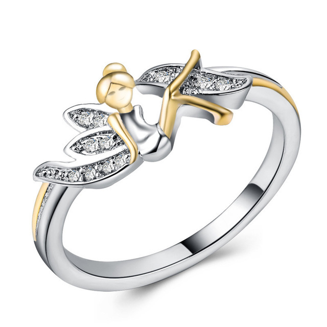 Octbyna Fashion Lucky Angel Sparkling Rhinestone Wings Ring Silver Flower Fairy Rings For Women Jewelry Wedding Rings