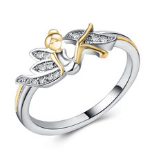 f577e5a55 Lucky Angel Brand Ring Simple Cubic Zirconia Wings Flower Fairy Rings For  Women Fashion Birthstone Jewelry Wedding Rings Gift