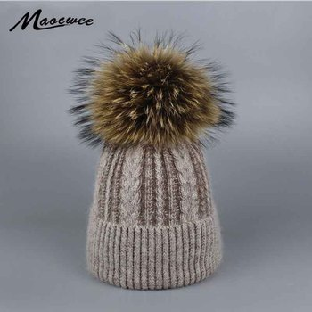 Pompoms Fur Knitted Winter Hats For Women Pompoms Beanies Thick Winter Hats Natural Rabbit Fur Female Beanies Caps Warm Hat 2017 winter women s hats beanies colorful fox fur pompons cap girl wool knitted warm hats thick female gorro fur pompoms bonnet touca
