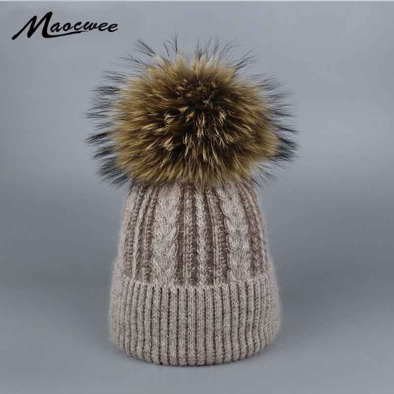 Pompoms Fur Knitted Winter Hats For Women Pompoms   Beanies   Thick Winter Hats Natural Rabbit Fur Female   Beanies   Caps Warm Hat 2017