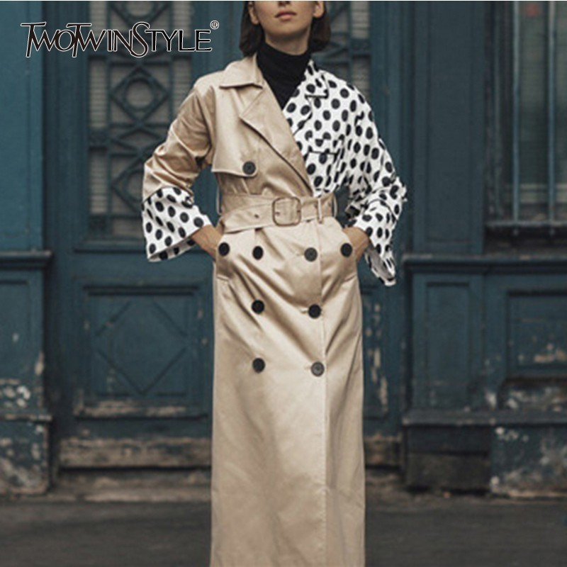 TWOTWINSTYLE Asymmetry Womens Windbreakers Big Size Long Sleeve Double Breasted Patchwork Polka Dot Coat Female Fashion Clothing