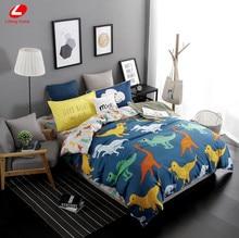 Lifeng casa 2017 Nuevo juego de cama edredón conjunto funda nórdica dinosaurio cubierta juego de cama hoja plana de impresión AB lateral super king