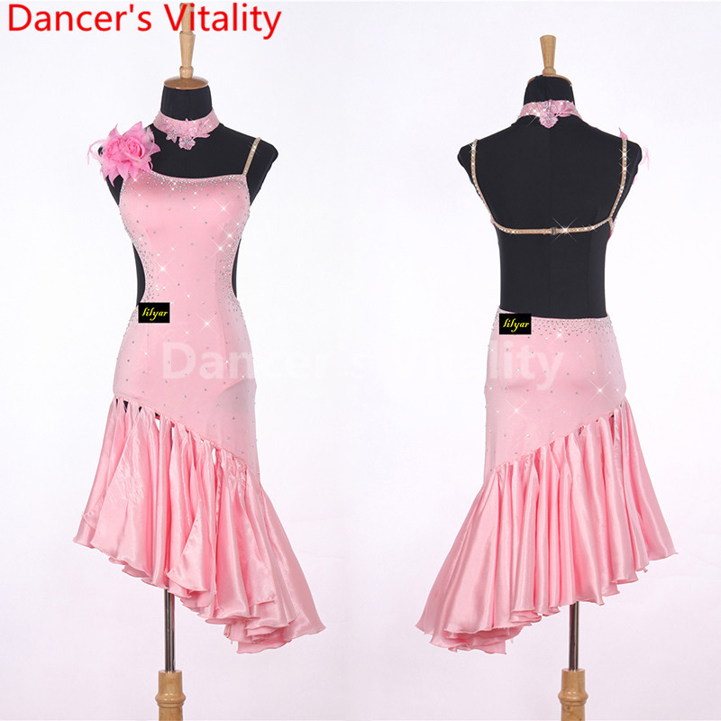 2017 Latin Dance Dresses black Color Lulu Dance Dress Salsa Dance Leotard Women Ladies Girls Latin Cha-cha Dance Skirts