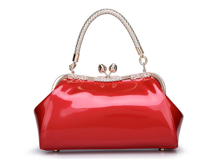 Top-handle Bags for Women 2017 Ladies Blue Red Patent Leather Handbags Wedding Party Handbag Female Bride Tote Bag Frame F017