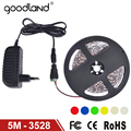 Goodland LED Strip light SMD3528 5m Single Color Flexible Lamp Light,Power Supply 2A DC12V Red Green Blue Yellow Warm/Cold White
