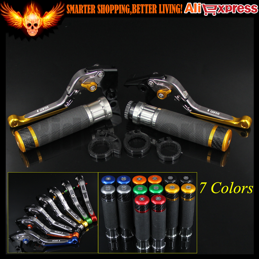 ФОТО New CNC Motorcycle Brake Clutch Levers&Handlebar Hand Grips For Ducati HYPERMOTARD 939/Strada 2016 Short only w/stock handguards