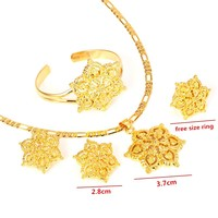 Gold Flowers Set Jewelry Women 22k Gold GF Pendant Necklace Earrings Ring Bangle African Arabian Ethiopian