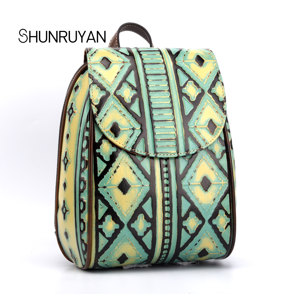 SHUNRUYAN 2018 New Fashion Retro Trendy backpack leather bag ladies cowhide Embossed shoulder trend bag aetoo new leather women backpack cowhide retro shoulder bag fashion travel backpack lady bag embossed bag