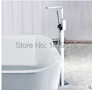 Modern Square Floor Mount Clawfoot Bath Tub Filter Faucet With Hand Shower Head W6025 880