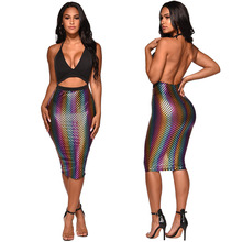 European And American Women Fashion Halter V-neck Sexy Backless Rainbow Dress Summer Beach