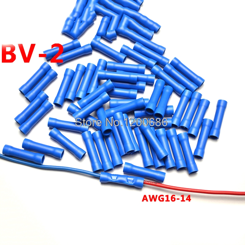 Blue BV2 16 14 AWG BV 2 100 Pcs Wiring Connecting 16 14 Gauge Insulated Straight Wire Butt Electrical Crimp Terminal in Terminals from Home Improvement