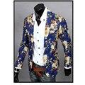 Mens Slim Fit Blazers Casaco Jaqueta Floral 2016 Lazer Terno de Negócio Casuais Cópia Da Flor Jaqueta Blazer Vestido Roupas M-XXL