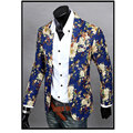 Mens Slim Fit Blazers Floral Jacket Coat 2016 Leisure Casual Business Suit Flower Print Jacket Blazer Dress Clothes M-XXL
