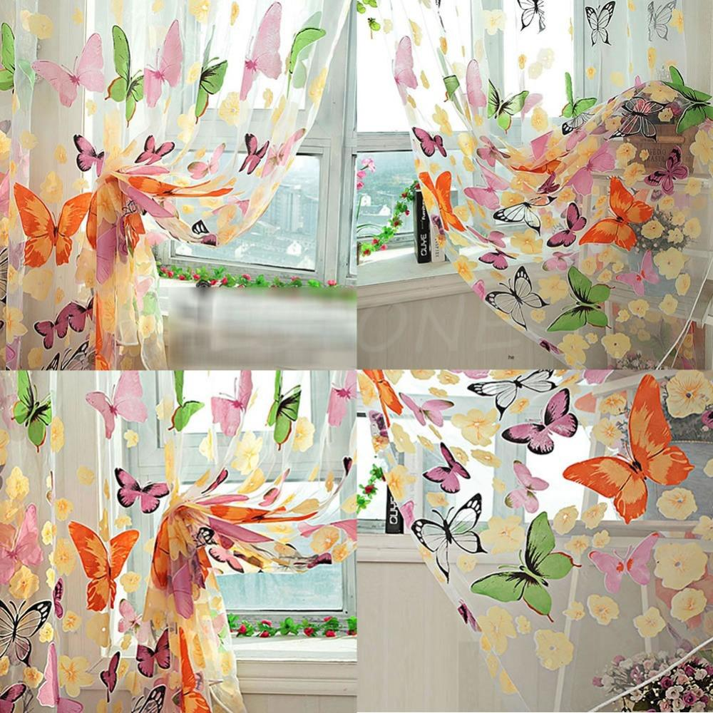 1PC Cute Butterfly Print Sheer Window Panel Curtains Room