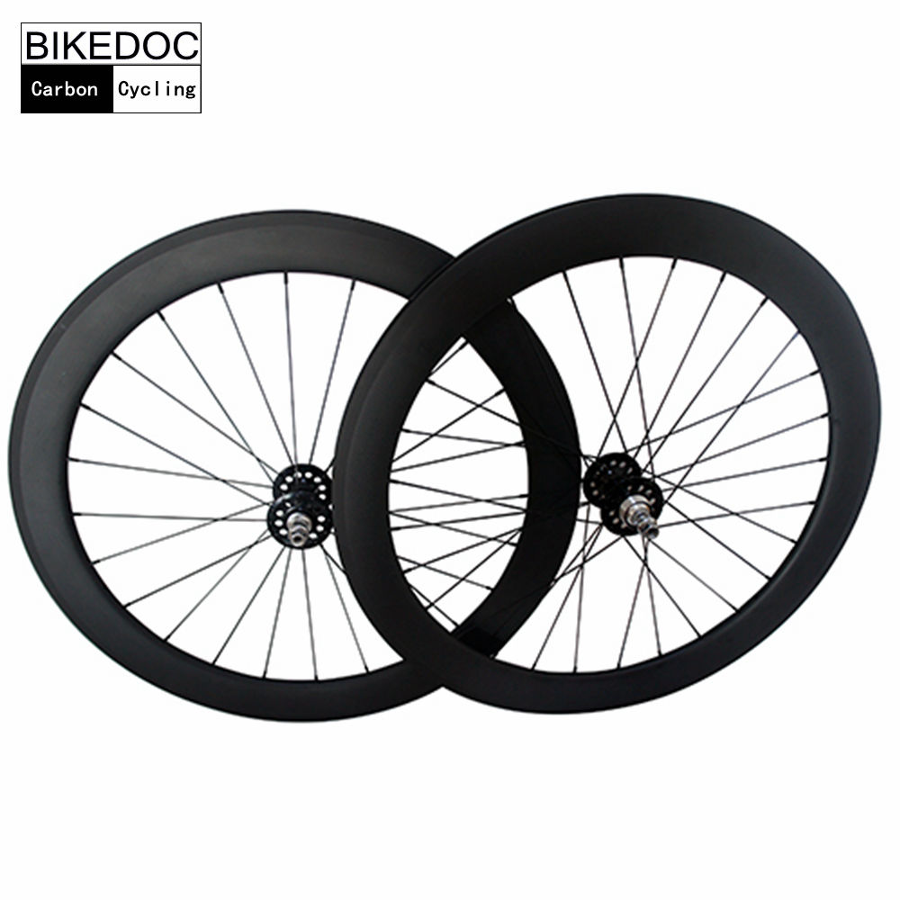 BIKEDOC Carbon Wheels 700C Fixed Gear Wheels 60mm Toray 700 Carbon Track Wheel Tubular 700c single speed 50mm carbon track wheels for track bike carbon bicycle wheel fixed gear hub novatec 165 166 track 23mm tubular