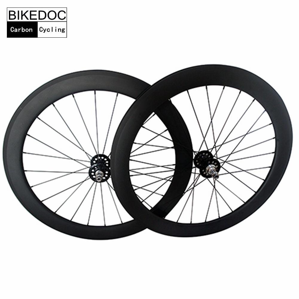 BIKEDOC Carbon Wheels 700C Fixed Gear Wheels 60mm Toray 700 Carbon Track Wheel Tubular bikedoc 700c track bike wheel racing road carbon wheels toray 700 fixed gear wheels