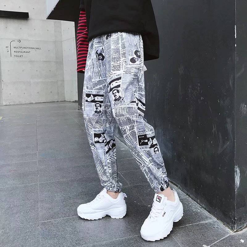 2019 Hip Hop Pants Graphic Print Pencil Pants Men Elastic Waist Track Pants Trousers Mens Womens Fashion Joggers Sweatpants