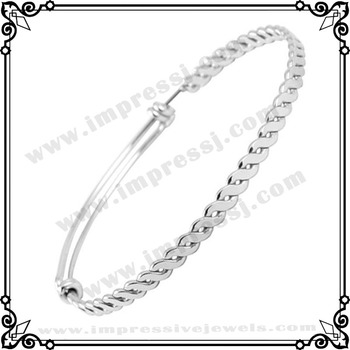 IJB0273 50mm,55mm,60mm,65mm,70mm 316L Stainless Steel Adjustable Expandable Twisted Wire Bangles for Women/Men Christmas Gifts