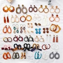 hot deal buy fashion acrylic resin acrylic silver long earrings round geometry c leopard brown earrings trendy sexy women earrings jewelry