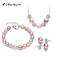 Aitunan Natural Freshwater Pearl Jewelry Sets For Women Necklace Earrings Bracelet 925 Sterling Silver Crystal Wedding Jewelry