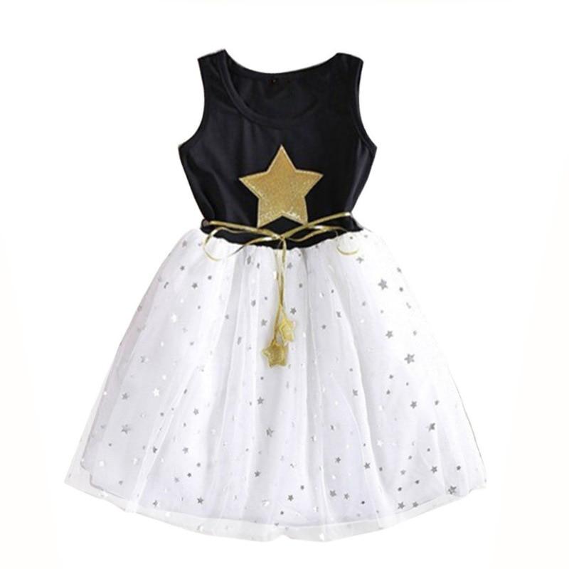 2018 новые летние для маленьких девочек принцесса 5 звезд платье без рукавов для малышей Детские вечерние кружевное платье Повседневная Лиде...