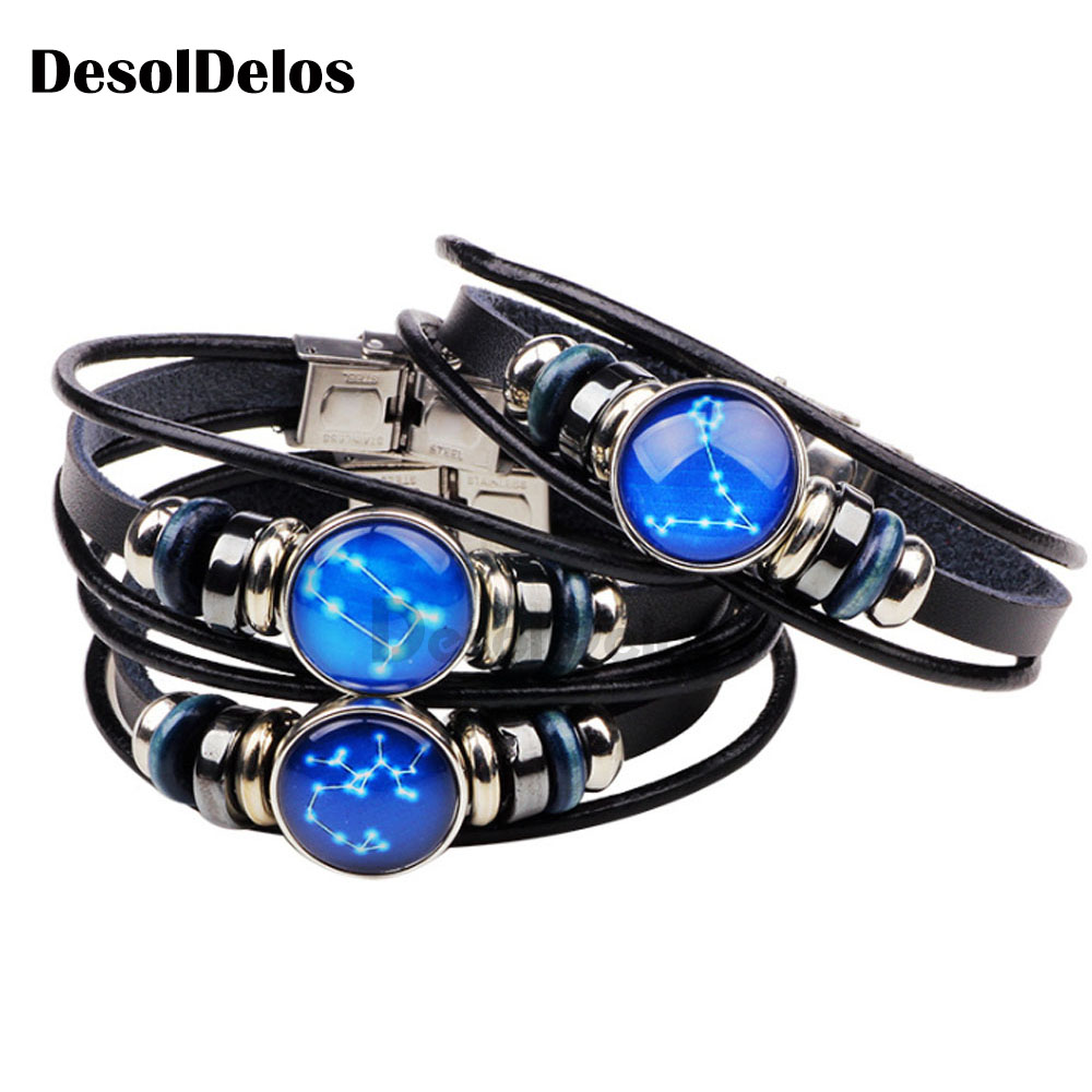 Zodiac Sign Button Bracelet Cancer Leo Virgo Libra Scorpio Gemini 12 Constellation Punk Braided Leather Bracelet in Charm Bracelets from Jewelry Accessories