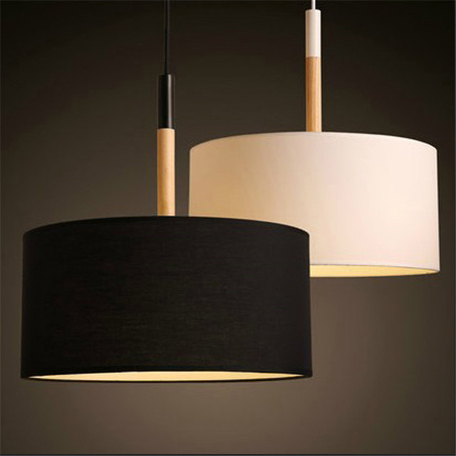 moderno luces colgantes led montaje para comedor negro blanco pantalla de madera industrial lmparas de techo