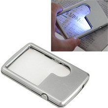 Xinxiang LED illuminated Magnifier 89*57*9mm Credit Card Led Magnifier 3x/6x Loupe With Light Leather Case Magnifying Glass
