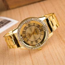 Geneva Watch Men Women Full Steel Sport Casual Three Clock Diamond Stainless steel Quartz Watches