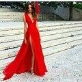 Baratos vestidos de noite longos 2017 a line decote em v high side Slit Evening Formal Prom Vestidos Mulheres Festa À Noite vestido de festa