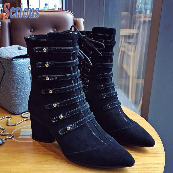 Stylesowner Block Heel Black Leather Boots Rivets Belt Strappy Lace-up Short Boots Elegant Women Winter 2016 New Coming Bota elegant women s short boots with color block and lace up design