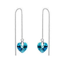 925 Sterling Silver Long Chain Dangle Earrings Line Fashion Jewelry Women Crystal From Swarovski Heart Pendant Christmas gifts
