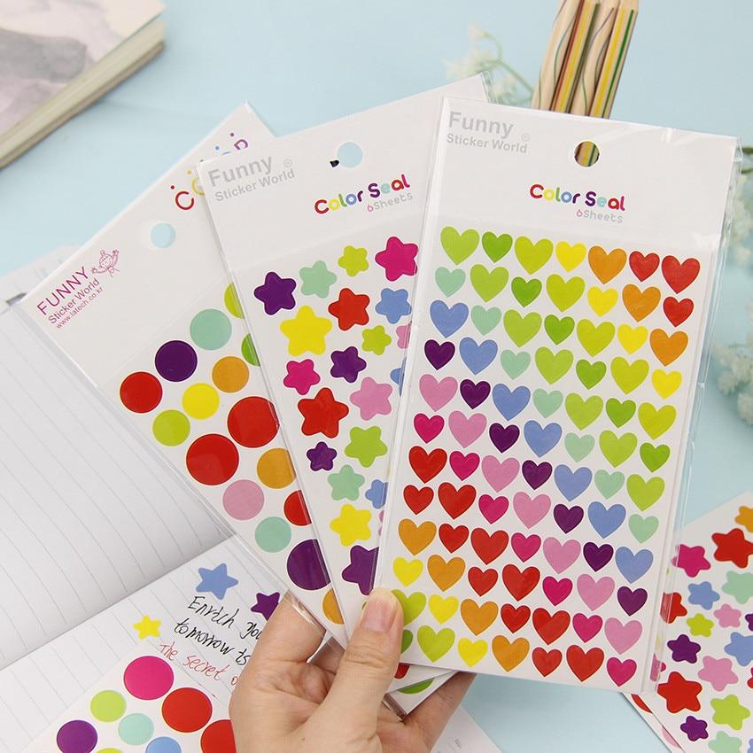 6PCS/Bag Heart Star Paper Sticker DIY Photo Album Decoration Sticker Scrapbooking Diary Kawaii Stationery Sticker For Girls