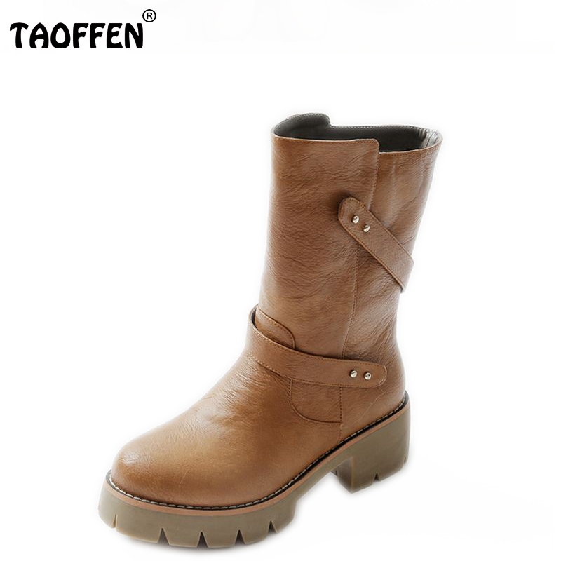 TAOFFEN size 32-46 women high heel over knee boots winter warm snow ridind long boot buckle quality footwear shoes P20681 free shipping over knee wedge boots women snow fashion winter warm footwear shoes boot p15323 eur size 34 39
