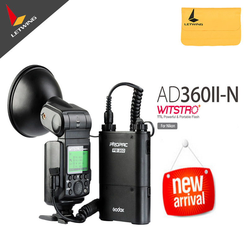 Free DHL !Godox Witstro AD-360 /AD360 II AD360II-N TTL On/Off-Camera Flash Speedlite+PB960 Battery Pack for Nikon DSLR Cameras godox witstro ad 360 ad360ii n ttl flash speedlite pb960 battery pack black x1n wireless transmitter for nikon dslr camera